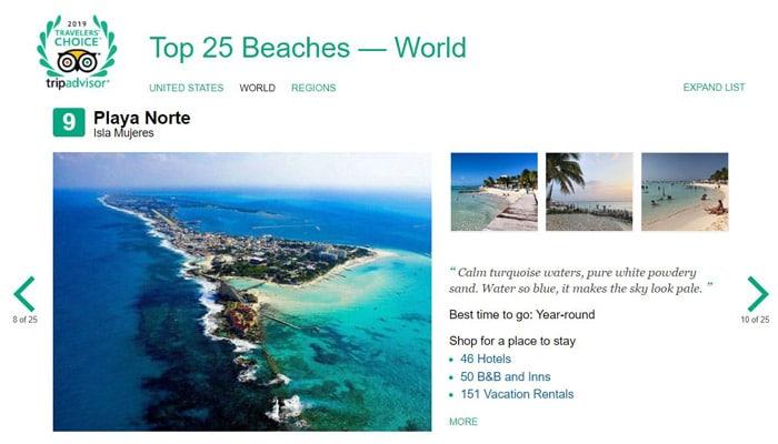 Playa Norte Beach Travelers choice awards